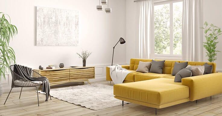 Wohnzimmer mit gelber Couch