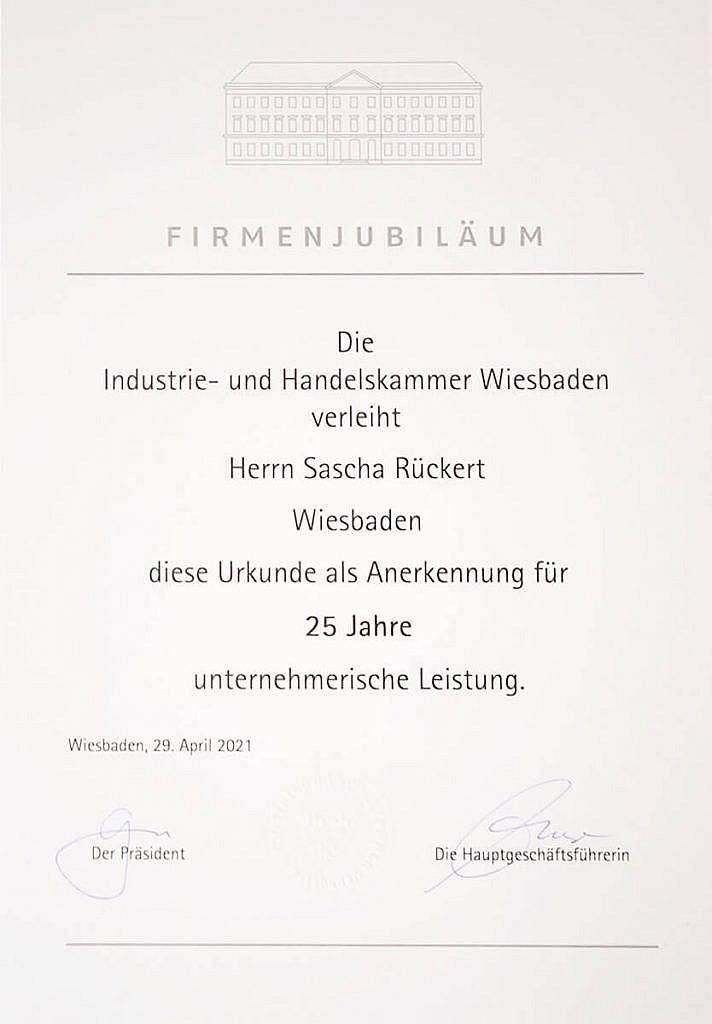 Urkunde Firmenjubiläum 25 Jahre